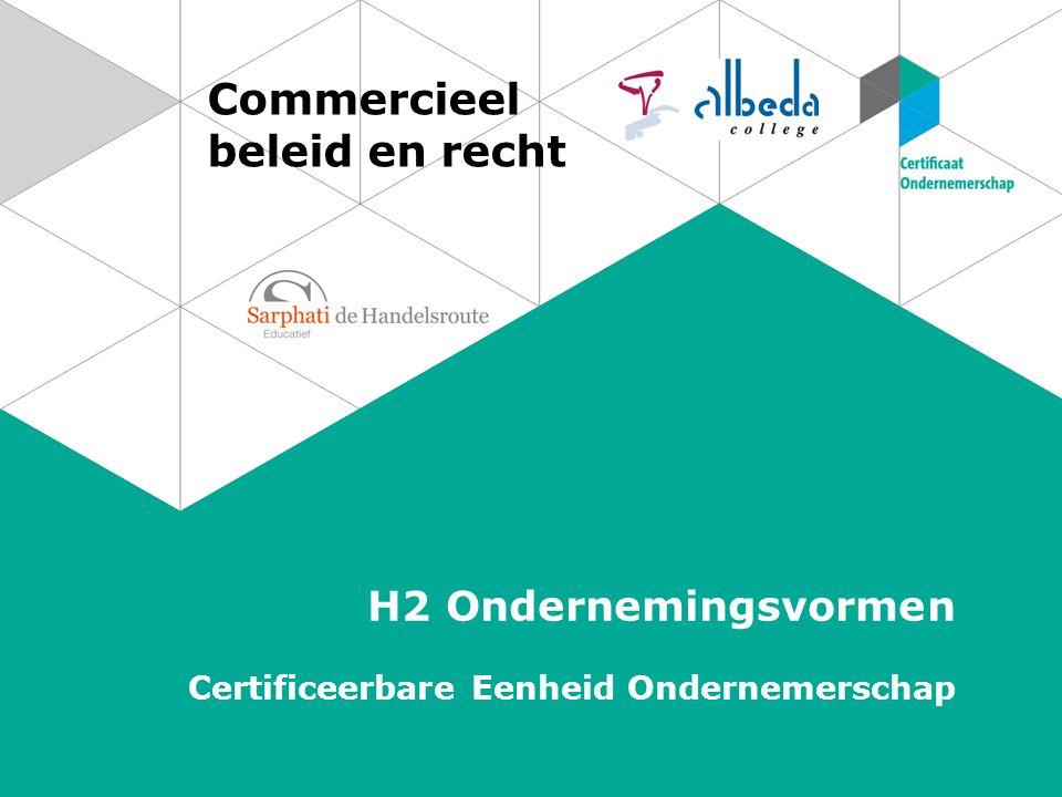 Commercieel beleid en recht H2 Ondernemingsvormen Certificeerbare Eenheid Ondernemerschap