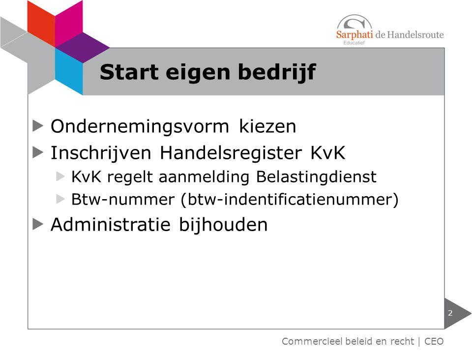 Ondernemingsvorm kiezen Inschrijven Handelsregister KvK KvK regelt aanmelding Belastingdienst Btw-nummer (btw-indentificatienummer) Administratie bijh