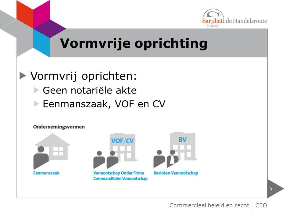Vormvrij oprichten: Geen notariële akte Eenmanszaak, VOF en CV 5 Commercieel beleid en recht | CEO Vormvrije oprichting