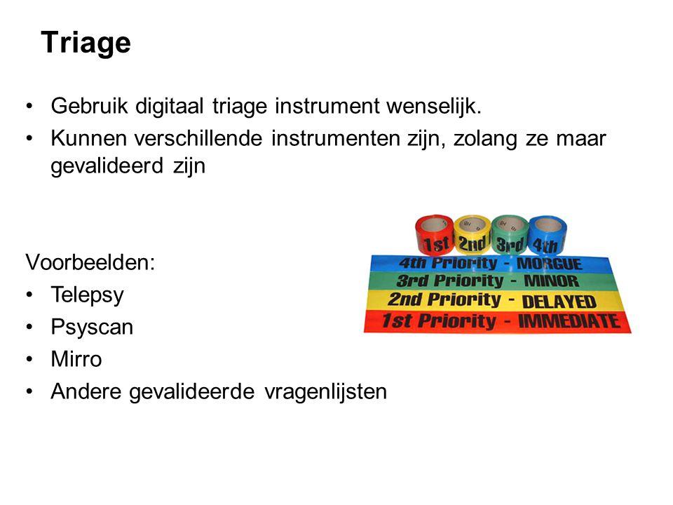 Triage Gebruik digitaal triage instrument wenselijk. Kunnen verschillende instrumenten zijn, zolang ze maar gevalideerd zijn Voorbeelden: Telepsy Psys