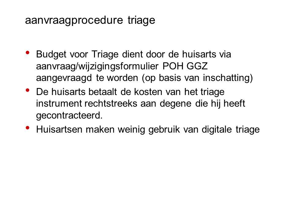 aanvraagprocedure triage Budget voor Triage dient door de huisarts via aanvraag/wijzigingsformulier POH GGZ aangevraagd te worden (op basis van inscha
