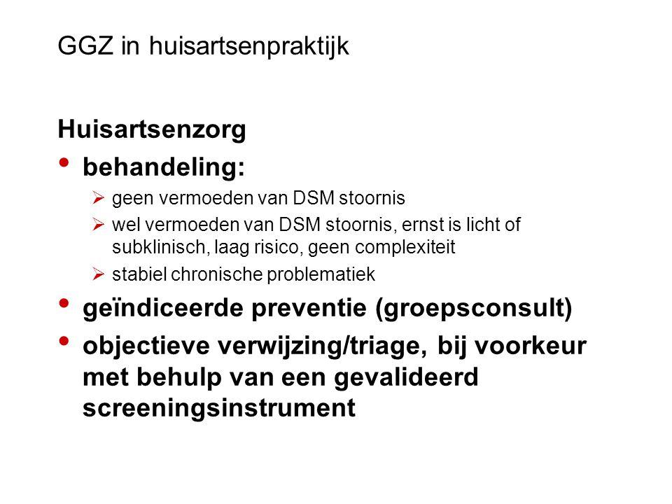 GGZ in huisartsenpraktijk Huisartsenzorg behandeling:  geen vermoeden van DSM stoornis  wel vermoeden van DSM stoornis, ernst is licht of subklinisc
