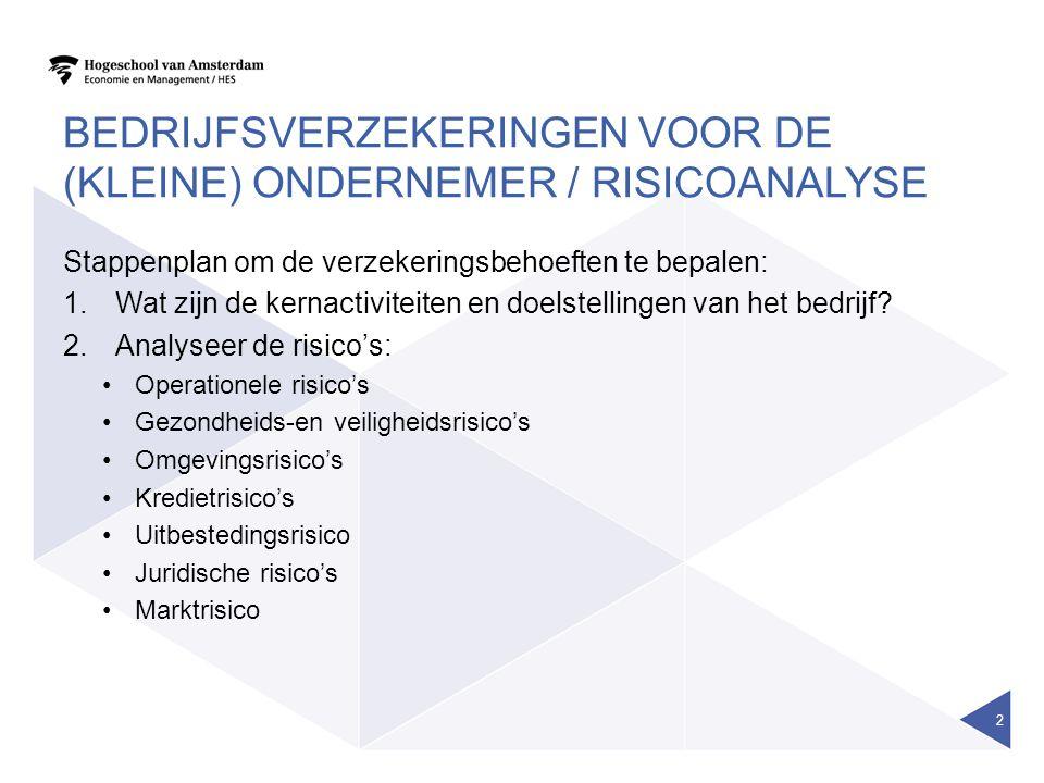 BEDRIJFSVERZEKERINGEN VOOR DE (KLEINE) ONDERNEMER / RISICOANALYSE Stappenplan om de verzekeringsbehoeften te bepalen: 1.Wat zijn de kernactiviteiten e
