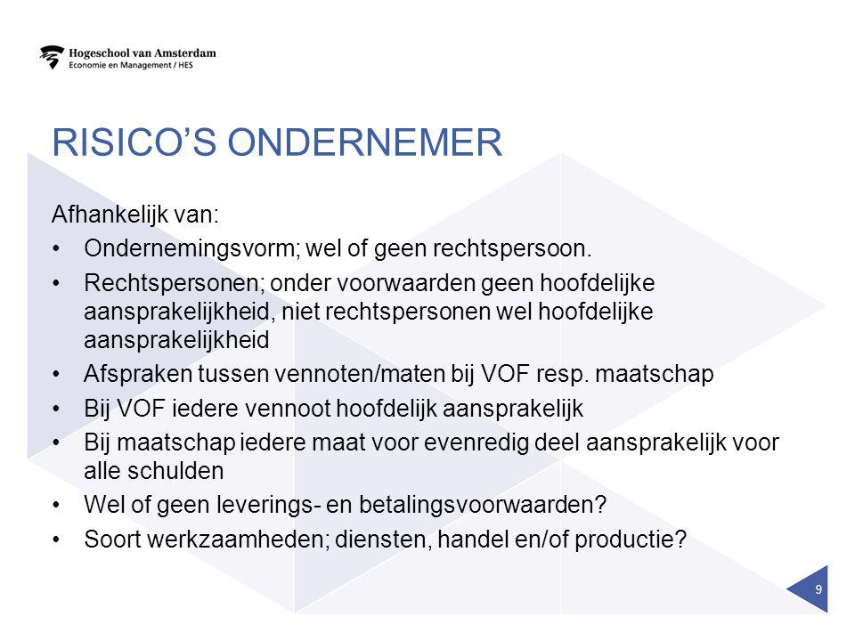 RISICO'S ONDERNEMER Afhankelijk van: Ondernemingsvorm; wel of geen rechtspersoon. Rechtspersonen; onder voorwaarden geen hoofdelijke aansprakelijkheid
