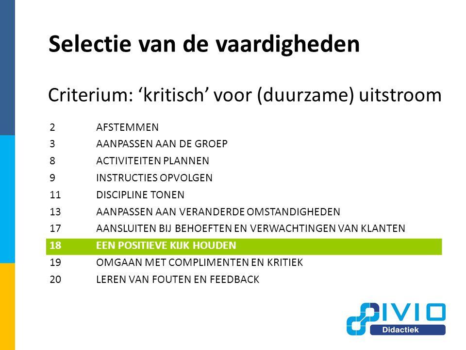 Selectie van de vaardigheden Criterium: 'kritisch' voor (duurzame) uitstroom 2AFSTEMMEN 3AANPASSEN AAN DE GROEP 8ACTIVITEITEN PLANNEN 9INSTRUCTIES OPVOLGEN 11DISCIPLINE TONEN 13AANPASSEN AAN VERANDERDE OMSTANDIGHEDEN 17AANSLUITEN BIJ BEHOEFTEN EN VERWACHTINGEN VAN KLANTEN 18EEN POSITIEVE KIJK HOUDEN 19OMGAAN MET COMPLIMENTEN EN KRITIEK 20LEREN VAN FOUTEN EN FEEDBACK