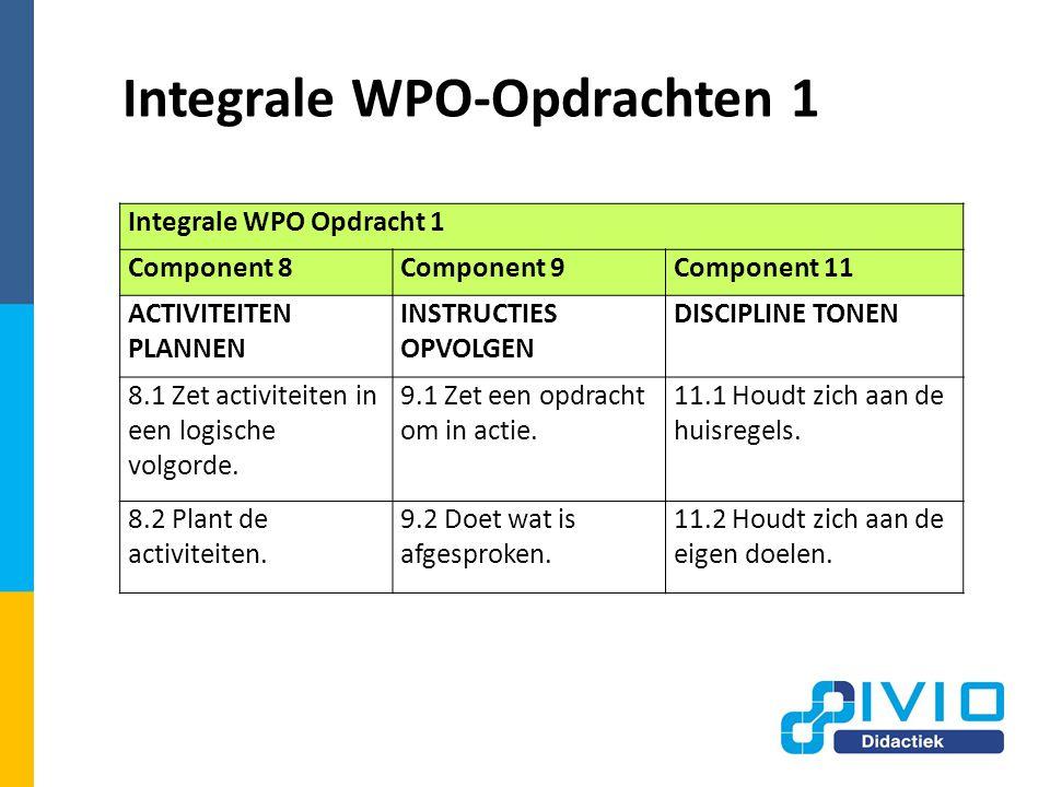 Integrale WPO-Opdrachten 1 Integrale WPO Opdracht 1 Component 8Component 9Component 11 ACTIVITEITEN PLANNEN INSTRUCTIES OPVOLGEN DISCIPLINE TONEN 8.1 Zet activiteiten in een logische volgorde.