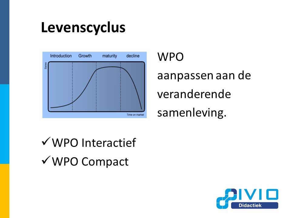 Levenscyclus WPO aanpassen aan de veranderende samenleving. WPO Interactief WPO Compact