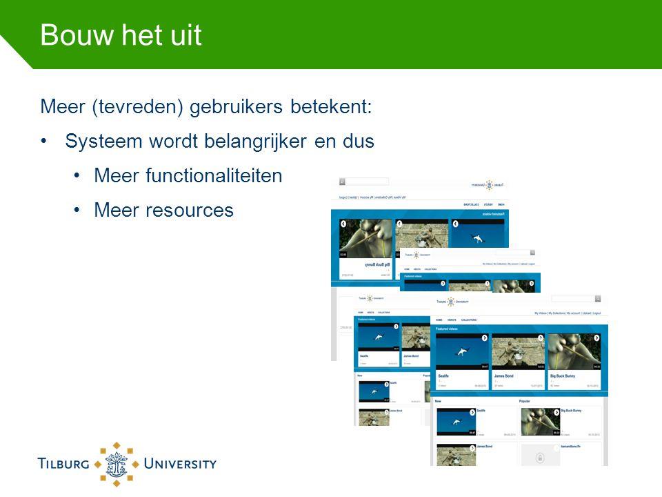 Bouw het uit Meer (tevreden) gebruikers betekent: Systeem wordt belangrijker en dus Meer functionaliteiten Meer resources