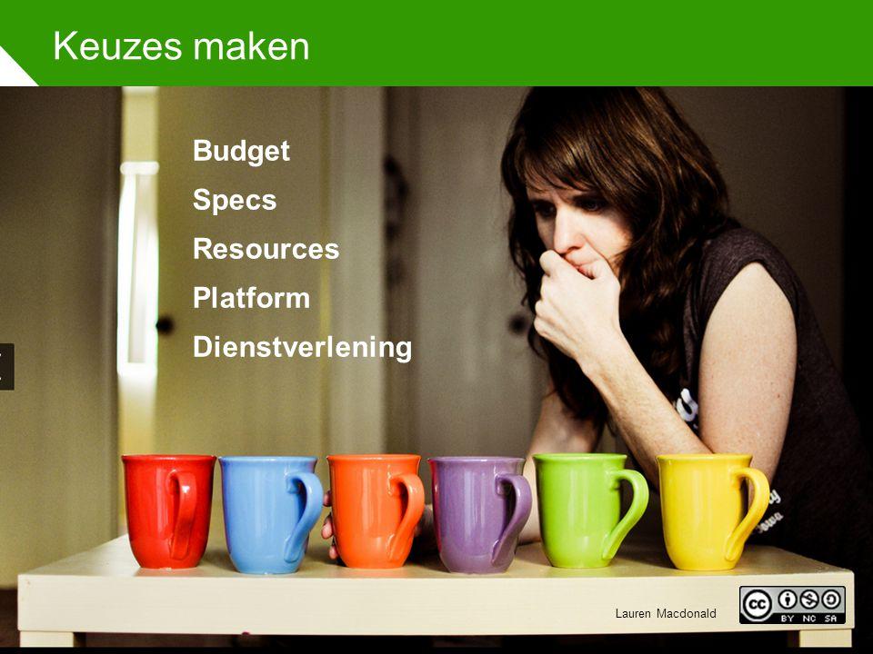 Keuzes maken Budget Specs Resources Platform Dienstverlening Lauren Macdonald