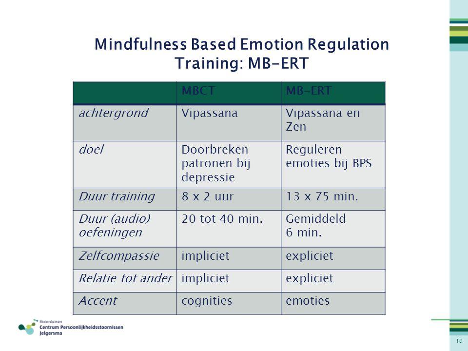 19 Mindfulness Based Emotion Regulation Training: MB-ERT MBCTMB-ERT achtergrondVipassanaVipassana en Zen doelDoorbreken patronen bij depressie Reguler