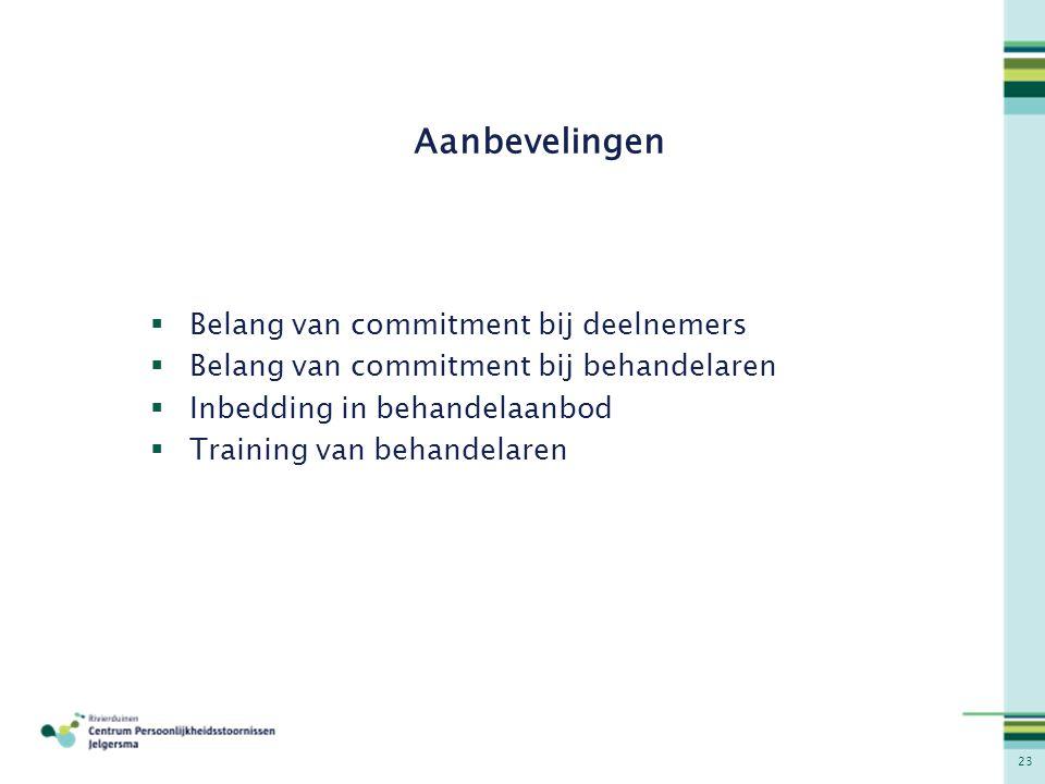 23 Aanbevelingen  Belang van commitment bij deelnemers  Belang van commitment bij behandelaren  Inbedding in behandelaanbod  Training van behandel