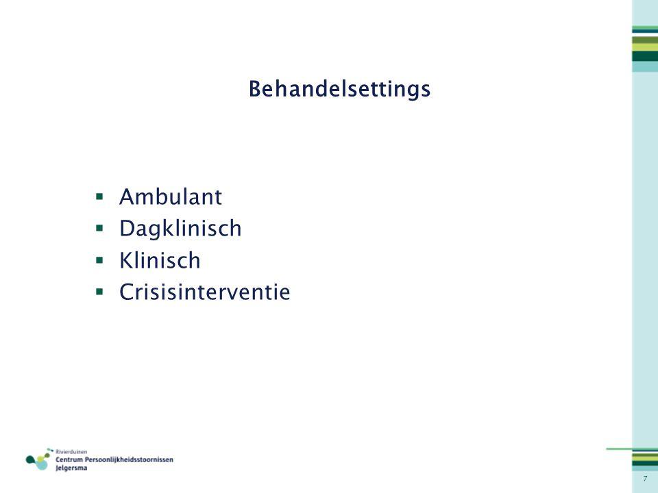 7 Behandelsettings  Ambulant  Dagklinisch  Klinisch  Crisisinterventie