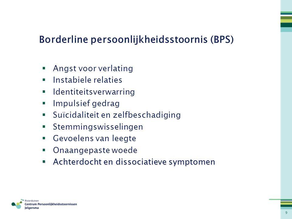 9 Borderline persoonlijkheidsstoornis (BPS)  Angst voor verlating  Instabiele relaties  Identiteitsverwarring  Impulsief gedrag  Suïcidaliteit en