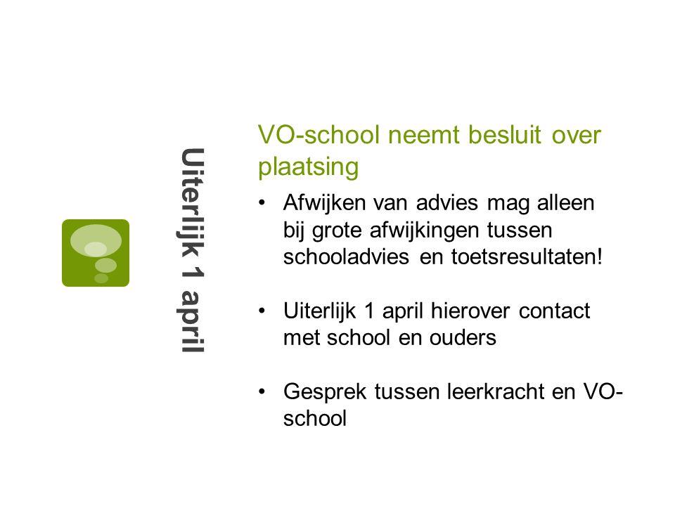 VO-school neemt besluit over plaatsing Uiterlijk 1 april Afwijken van advies mag alleen bij grote afwijkingen tussen schooladvies en toetsresultaten!