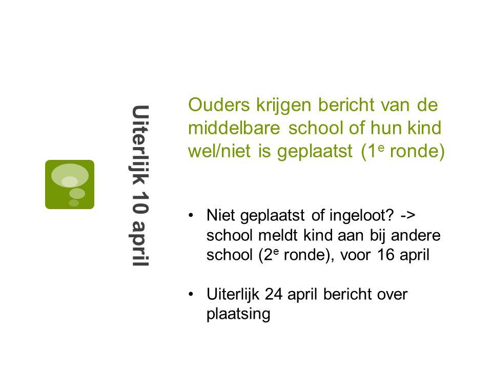 Ouders krijgen bericht van de middelbare school of hun kind wel/niet is geplaatst (1 e ronde) Uiterlijk 10 april Niet geplaatst of ingeloot? -> school