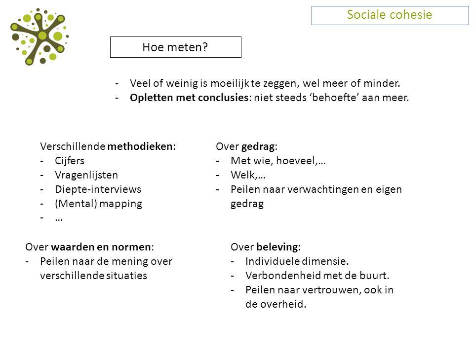 Sociale cohesie Hoe meten? -Veel of weinig is moeilijk te zeggen, wel meer of minder. -Opletten met conclusies: niet steeds 'behoefte' aan meer. Versc