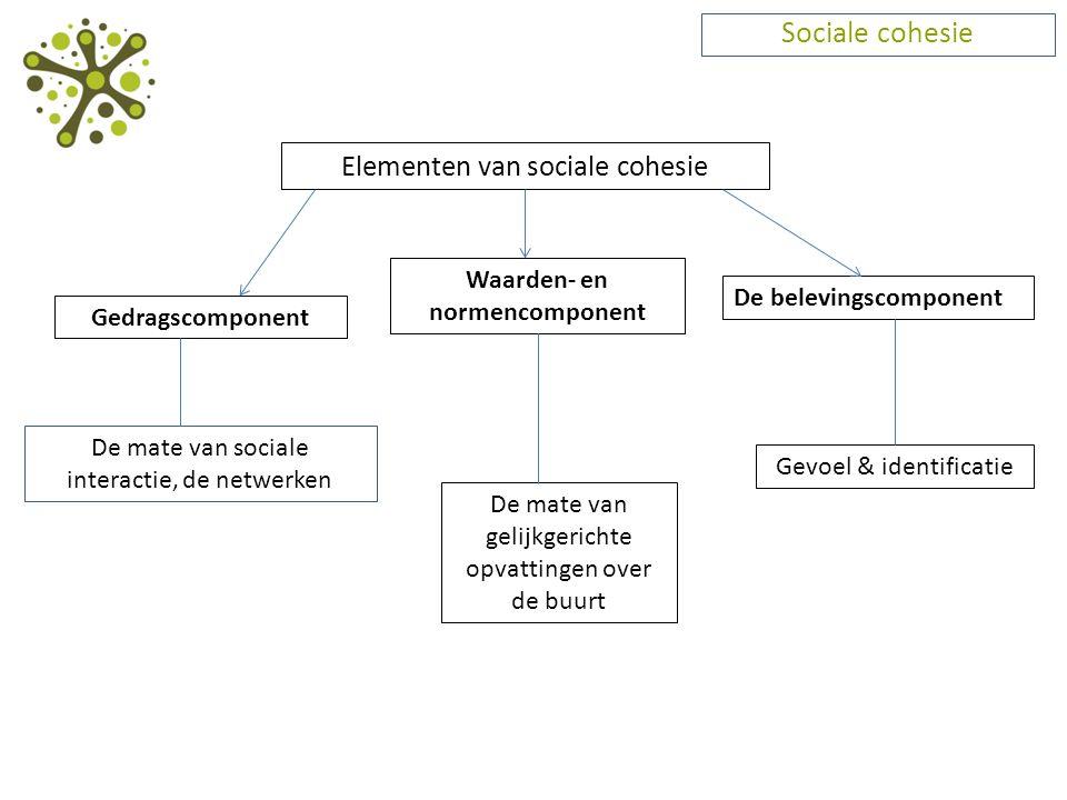 Sociale cohesie Elementen van sociale cohesie De mate van sociale interactie, de netwerken Gedragscomponent Waarden- en normencomponent De mate van ge