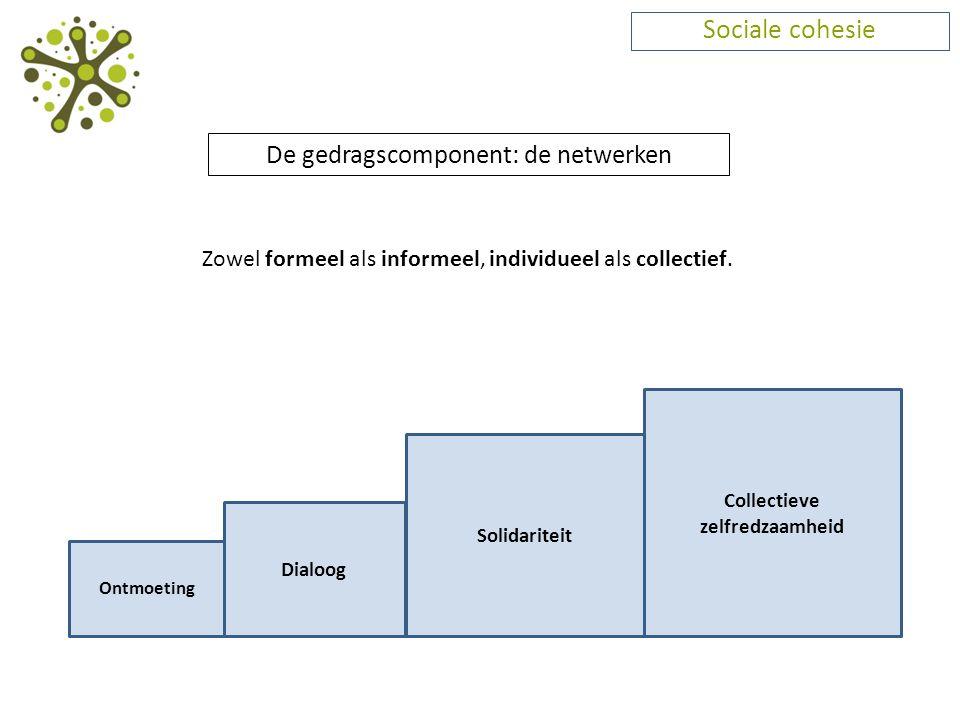 Sociale cohesie De gedragscomponent: de netwerken Zowel formeel als informeel, individueel als collectief. Ontmoeting Dialoog Solidariteit Collectieve