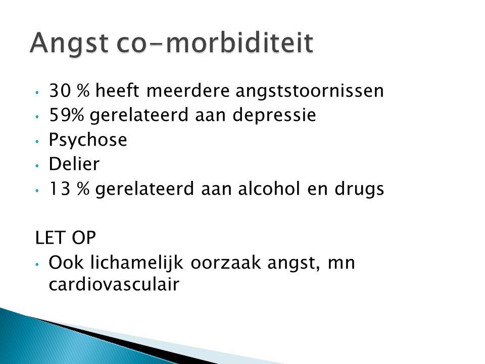 30 % heeft meerdere angststoornissen 59% gerelateerd aan depressie Psychose Delier 13 % gerelateerd aan alcohol en drugs LET OP Ook lichamelijk oorzaa