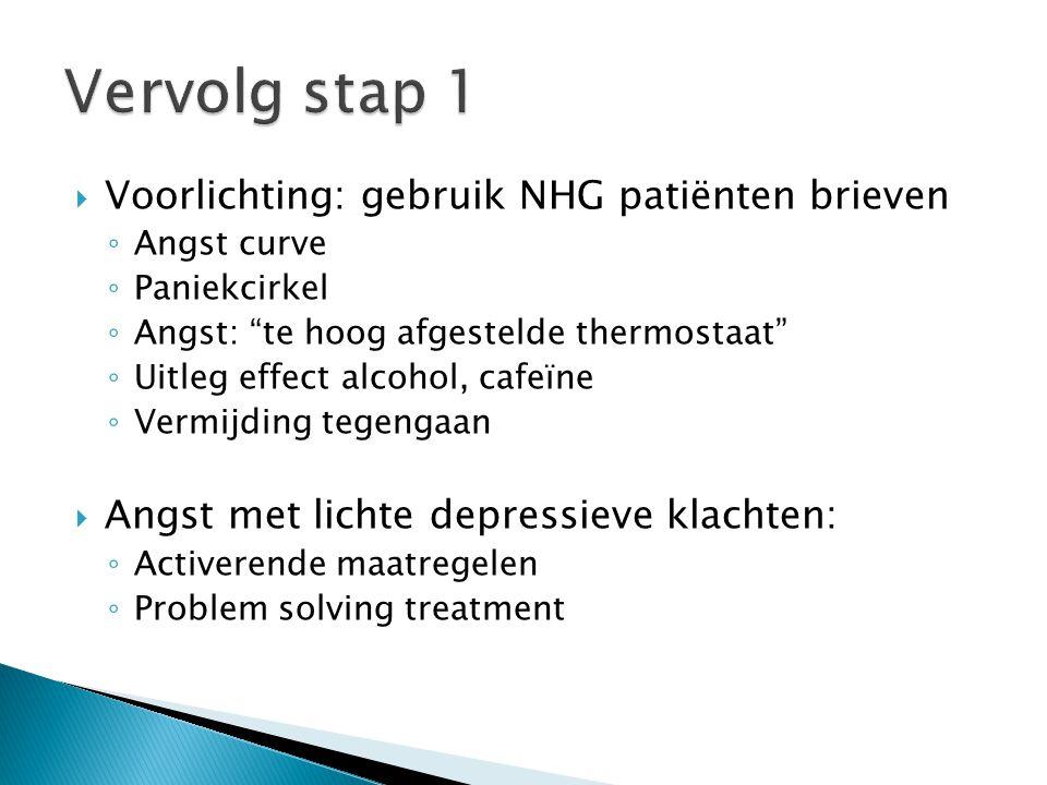 " Voorlichting: gebruik NHG patiënten brieven ◦ Angst curve ◦ Paniekcirkel ◦ Angst: ""te hoog afgestelde thermostaat"" ◦ Uitleg effect alcohol, cafeïne"