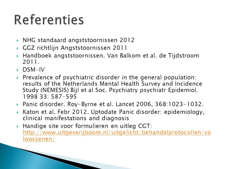  NHG standaard angststoornissen 2012  GGZ richtlijn Angststoornissen 2011  Handboek angststoornissen. Van Balkom et al. de Tijdstroom 2011.  DSM-I