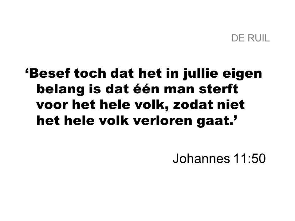 DE RUIL 'Besef toch dat het in jullie eigen belang is dat één man sterft voor het hele volk, zodat niet het hele volk verloren gaat.' Johannes 11:50