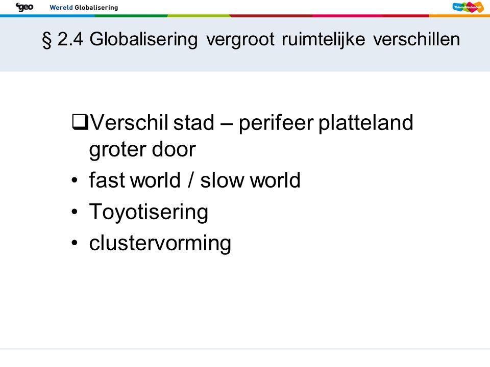 § 2.4 Globalisering vergroot ruimtelijke verschillen  Verschil stad – perifeer platteland groter door fast world / slow world Toyotisering clustervor