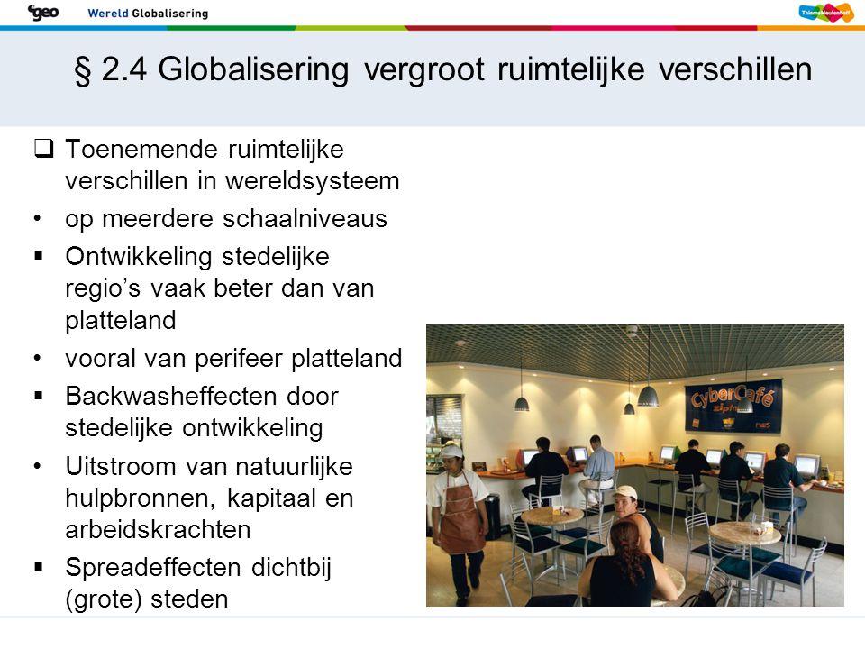 § 2.4 Globalisering vergroot ruimtelijke verschillen  Toenemende ruimtelijke verschillen in wereldsysteem op meerdere schaalniveaus  Ontwikkeling st