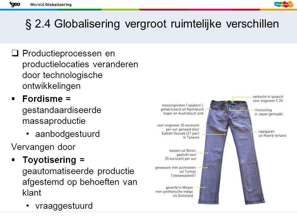 § 2.4 Globalisering vergroot ruimtelijke verschillen  Productieprocessen en productielocaties veranderen door technologische ontwikkelingen  Fordism