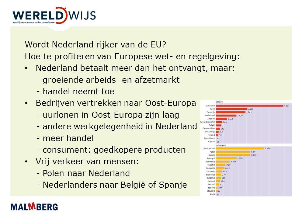 Wordt Nederland rijker van de EU? Hoe te profiteren van Europese wet- en regelgeving: Nederland betaalt meer dan het ontvangt, maar: - groeiende arbei