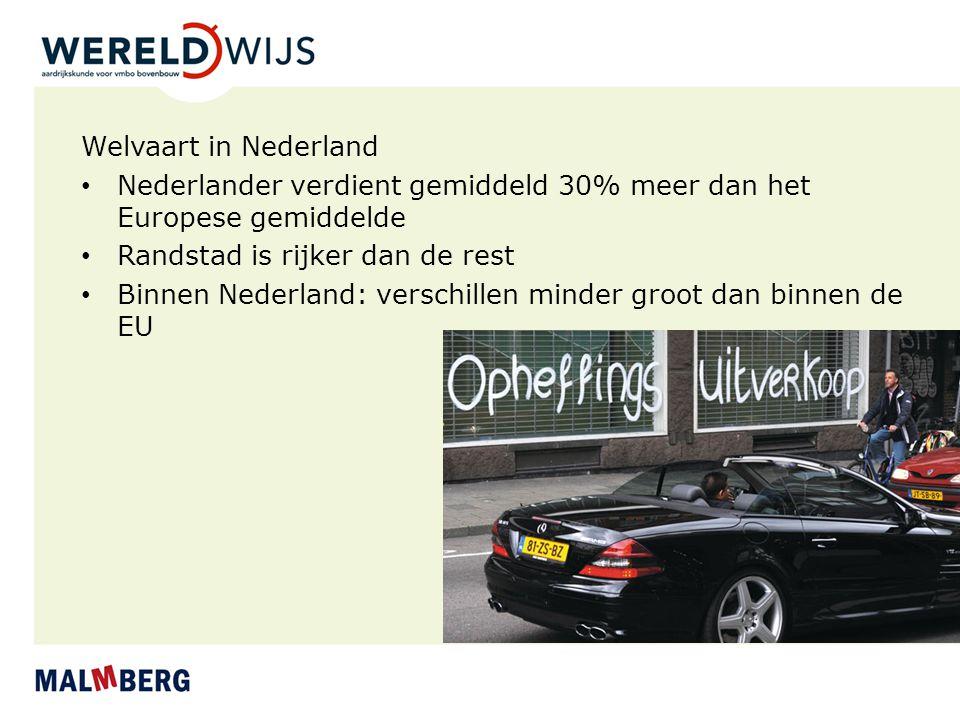 Welvaart in Nederland Nederlander verdient gemiddeld 30% meer dan het Europese gemiddelde Randstad is rijker dan de rest Binnen Nederland: verschillen
