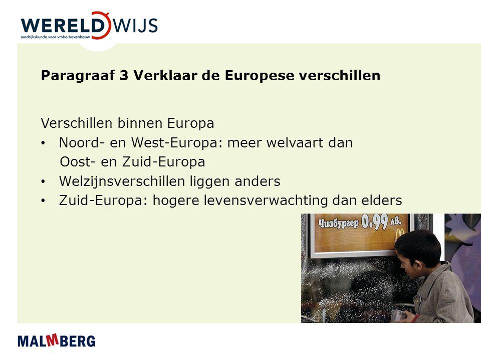 Paragraaf 3 Verklaar de Europese verschillen Verschillen binnen Europa Noord- en West-Europa: meer welvaart dan Oost- en Zuid-Europa Welzijnsverschill