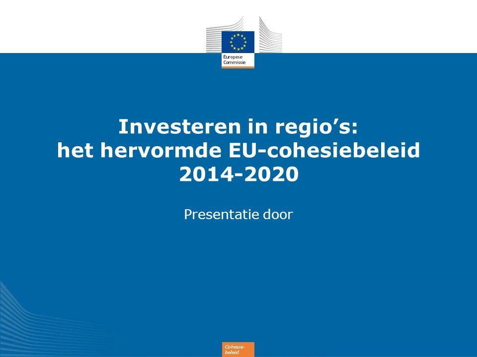 12 Investeren in alle EU-regio's AFGESTEMD OP Alle EU-regio´s profiteren NIVEAU VAN INVESTERING NIVEAU VAN ONTWIKKELING 182 miljard EUR voor minder ontwikkelde regio s Bnp < 75% van gemiddelde in EU-27 27 % van de EU-bevolking voor overgangsregio s Bnp 75-90 % van gemiddelde in EU-27 12 % van de EU-bevolking 35 miljard EUR voor meer ontwikkelde regio s Bnp > 90 % van gemiddelde in EU-27 61 % van de EU-bevolking 54 miljard EUR