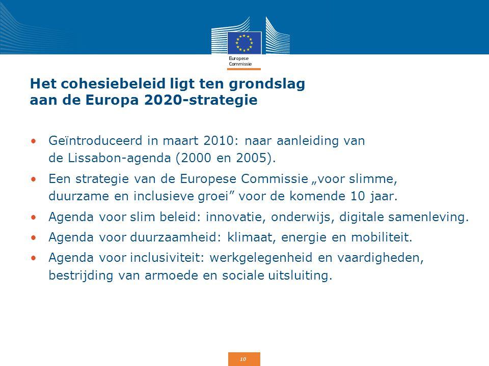 10 Het cohesiebeleid ligt ten grondslag aan de Europa 2020-strategie Geïntroduceerd in maart 2010: naar aanleiding van de Lissabon-agenda (2000 en 200