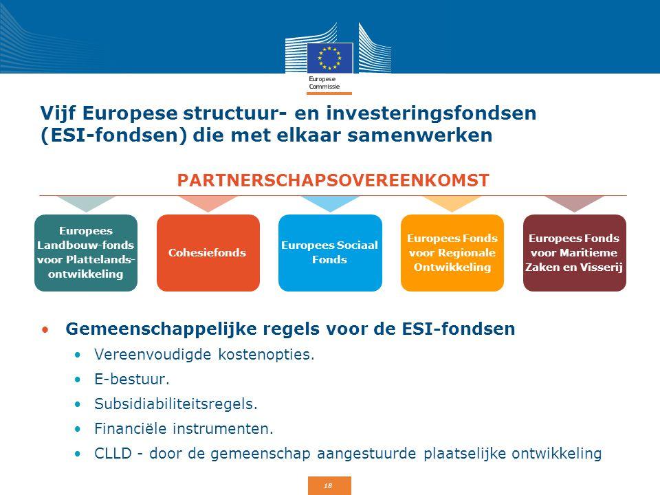 18 Vijf Europese structuur- en investeringsfondsen (ESI-fondsen) die met elkaar samenwerken Gemeenschappelijke regels voor de ESI-fondsen Vereenvoudig