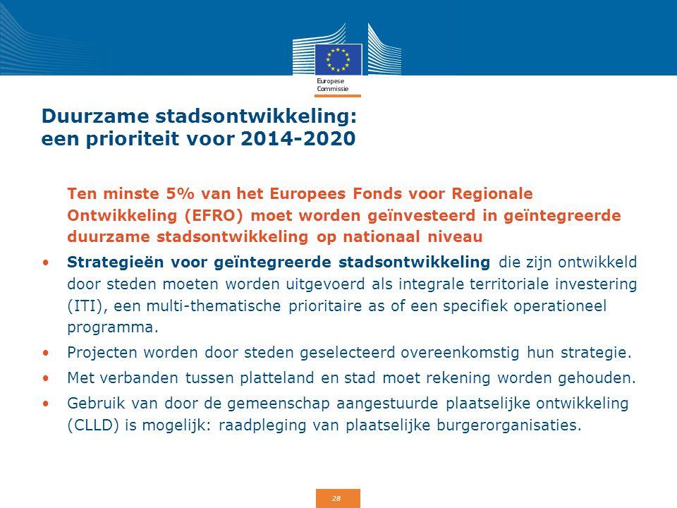 28 Duurzame stadsontwikkeling: een prioriteit voor 2014-2020 Ten minste 5% van het Europees Fonds voor Regionale Ontwikkeling (EFRO) moet worden geïnv