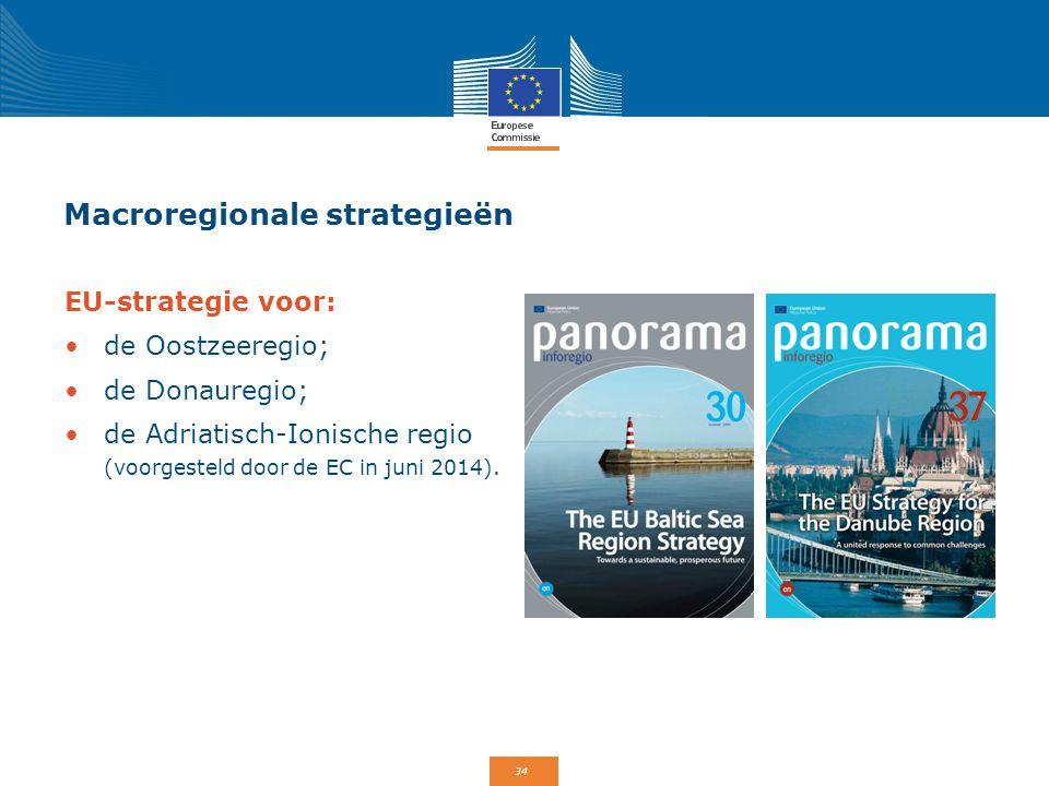 34 Macroregionale strategieën EU-strategie voor: de Oostzeeregio; de Donauregio; de Adriatisch-Ionische regio (voorgesteld door de EC in juni 2014).