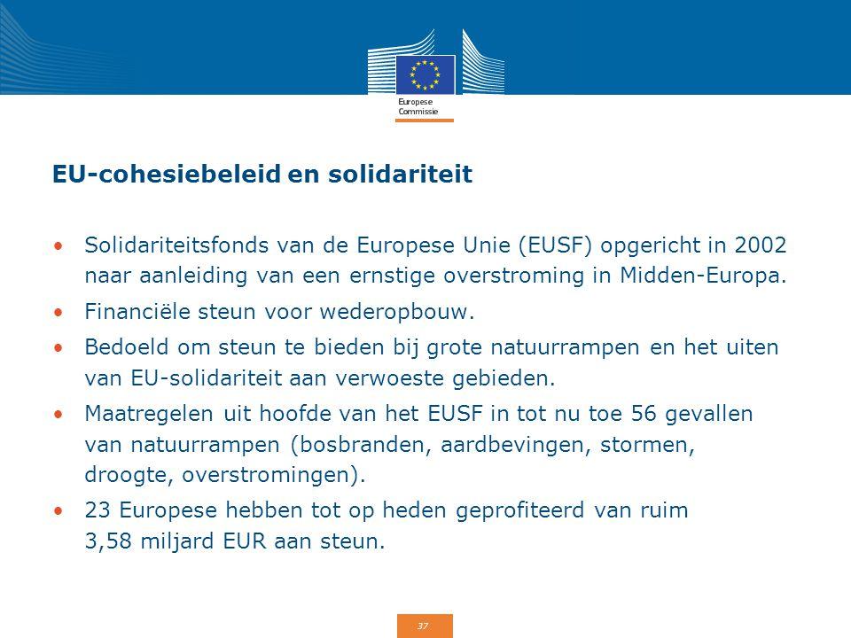 37 EU-cohesiebeleid en solidariteit Solidariteitsfonds van de Europese Unie (EUSF) opgericht in 2002 naar aanleiding van een ernstige overstroming in