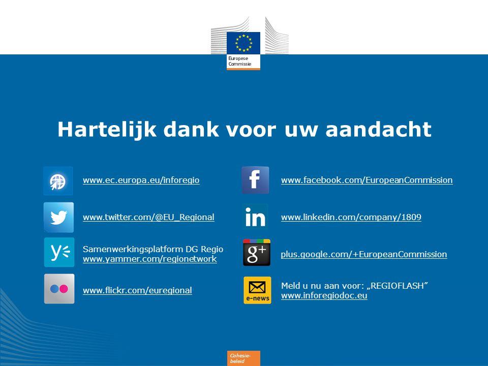 Cohesie- beleid Hartelijk dank voor uw aandacht www.ec.europa.eu/inforegio www.twitter.com/@EU_Regional Samenwerkingsplatform DG Regio www.yammer.com/