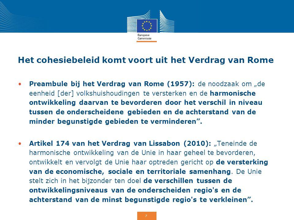 """7 Het cohesiebeleid komt voort uit het Verdrag van Rome Preambule bij het Verdrag van Rome (1957): de noodzaak om """"de eenheid [der] volkshuishoudingen"""