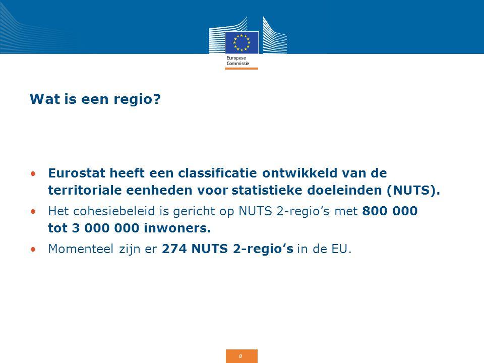 8 Wat is een regio? Eurostat heeft een classificatie ontwikkeld van de territoriale eenheden voor statistieke doeleinden (NUTS). Het cohesiebeleid is