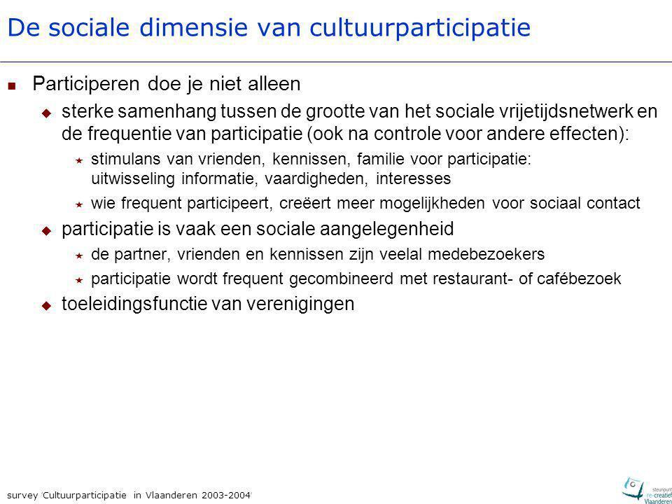 survey ' Cultuurparticipatie in Vlaanderen 2003-2004 ' De sociale dimensie van cultuurparticipatie Participeren doe je niet alleen  sterke samenhang