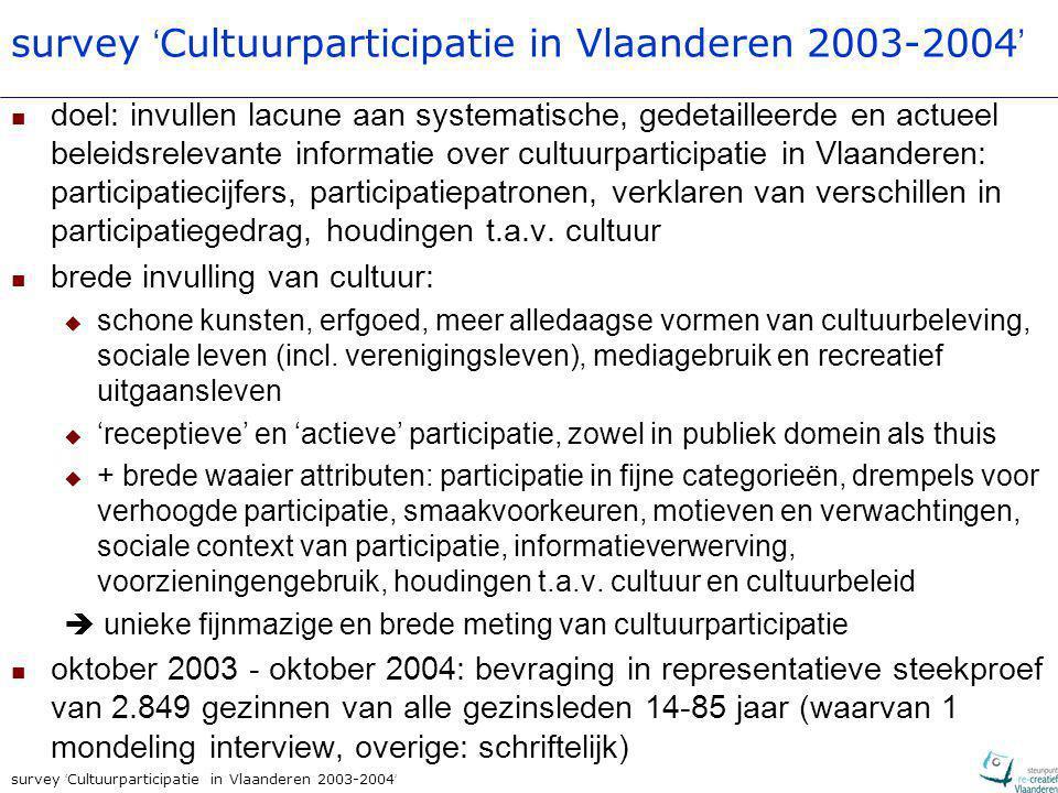 survey ' Cultuurparticipatie in Vlaanderen 2003-2004 ' doel: invullen lacune aan systematische, gedetailleerde en actueel beleidsrelevante informatie