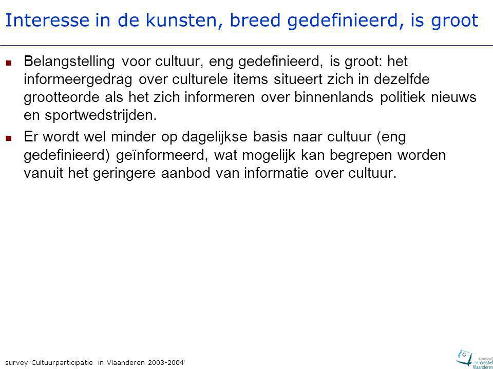 survey ' Cultuurparticipatie in Vlaanderen 2003-2004 ' Interesse in de kunsten, breed gedefinieerd, is groot Belangstelling voor cultuur, eng gedefini