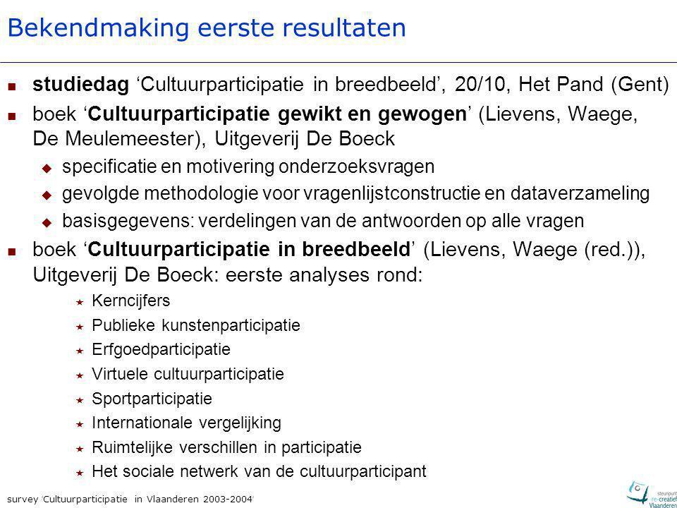 survey ' Cultuurparticipatie in Vlaanderen 2003-2004 ' verdere output:  voorjaar 2006: gedetailleerde kerncijfers en analyses voor verschillende (deel)sectoren  voorjaar 2006: verschillen in participatiegedrag kaderen in gezinscontext en regionaal aanbod + uitbreiden verklaringsmodel naar andere sectoren ...