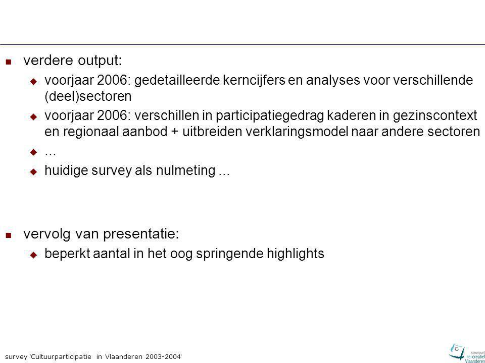 survey ' Cultuurparticipatie in Vlaanderen 2003-2004 ' Primordiaal belang van socialisatie deelname aan het publieke culturele leven wordt in zeer sterke mate bepaald door:  participatie in het ouderlijk milieu wie opgroeide/opgroeit bij cultuuractieve ouders participeert ook zelf meer frequent  scholing / opleidingsniveau hoger opgeleiden participeren meer frequent dan lager opgeleiden + uit ander onderzoek: stimulerende rol van de individuele leerkracht  dit geldt ook na statistische controle voor tal van andere kenmerken: leeftijd, geslacht, type beroep/opleiding, grootte sociaal vrijetijdsnetwerk, gezinsstatus en woonplaats geeft mechanismen voor investering in cultuurdeelname op de lange termijn + benadrukt cumulatief karakter ervan effecten sterkst in cultuur/kunstensectoren waar complexe codes worden gehanteerd