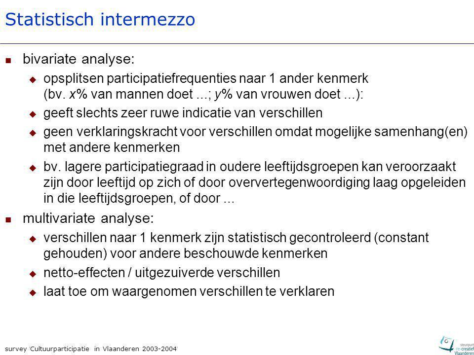 survey ' Cultuurparticipatie in Vlaanderen 2003-2004 ' Statistisch intermezzo bivariate analyse:  opsplitsen participatiefrequenties naar 1 ander ken