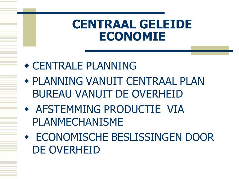 CENTRAAL GELEIDE ECONOMIE  CENTRALE PLANNING  PLANNING VANUIT CENTRAAL PLAN BUREAU VANUIT DE OVERHEID  AFSTEMMING PRODUCTIE VIA PLANMECHANISME  EC