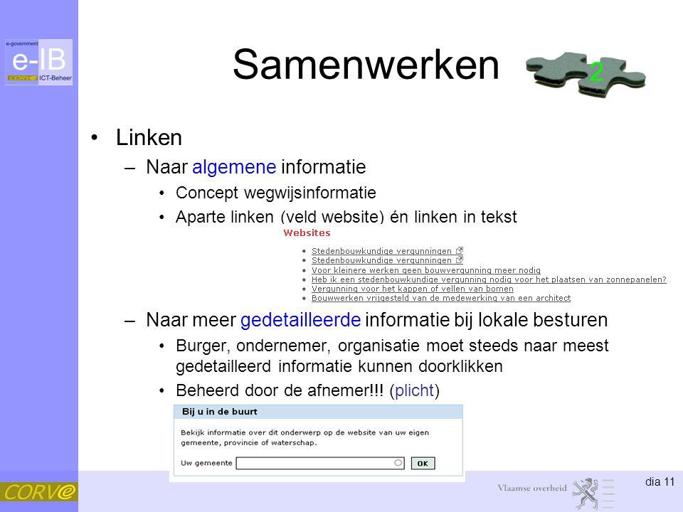 dia 11 Samenwerken Linken –Naar algemene informatie Concept wegwijsinformatie Aparte linken (veld website) én linken in tekst –Naar meer gedetailleerd