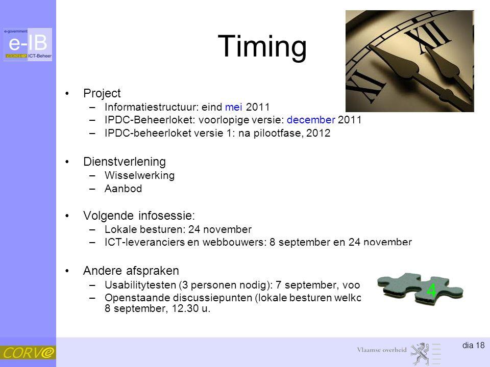 dia 18 Timing Project –Informatiestructuur: eind mei 2011 –IPDC-Beheerloket: voorlopige versie: december 2011 –IPDC-beheerloket versie 1: na pilootfas
